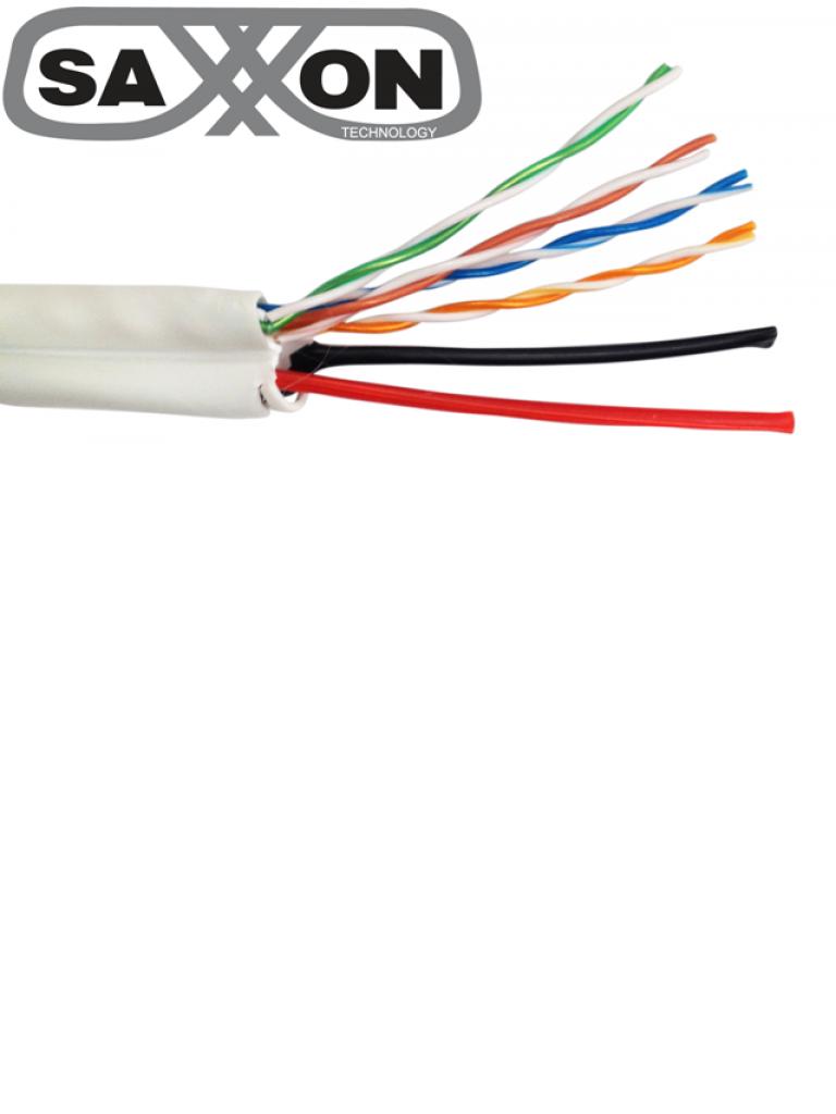SAXXON UTP5ECCAL03 - Cable UTP 5E mas 2 cables de energia 18  AWG / CCA / Bobina 305  Mts / Redes / Video / 4 Pares