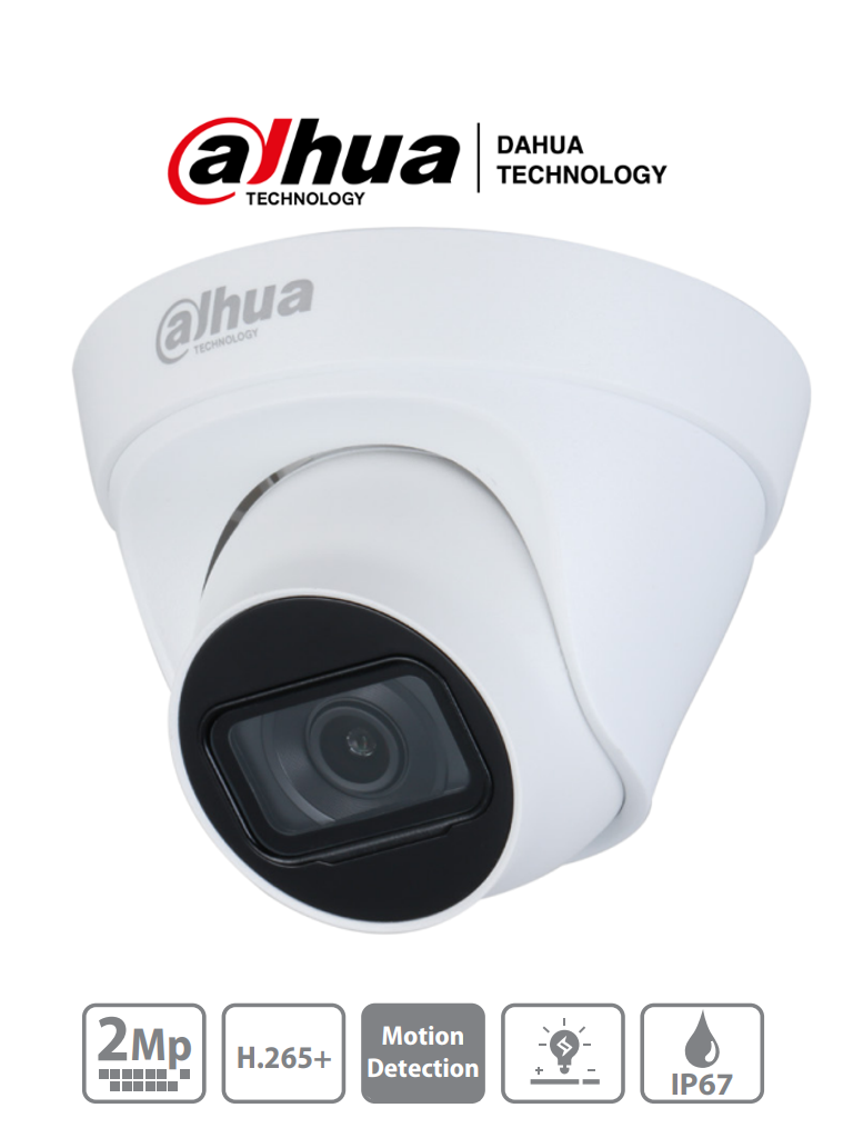 DAHUA IPC-HDW1230T1-S4 - Camara IP Domo de 2 MP/ H.265+/ 105 Grados de Apertura/ Lente de 2.8mm/ IR de 30 Mts/ IP67/ DWDR/ 3D DNR/ HLC/ BLC/