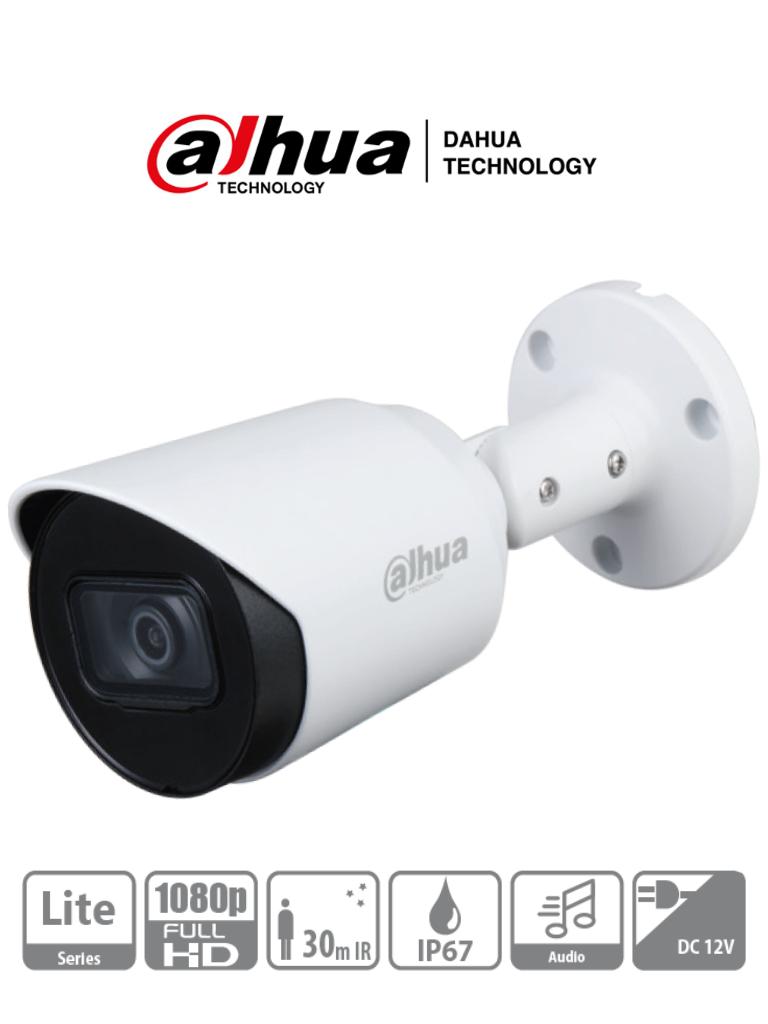 DAHUA HFW1200T-A - Camara Bullet HDCVI 1080p/ Microfono Integrado/ 103 Grados de Apertura/ Lente 2.8 mm/ IR 30 Mts/ IP67/ Metalica/ DWDR/ BLC /HLC