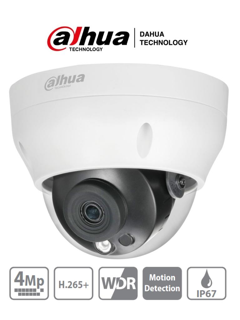 DAHUA IPC-HDPW1431R1-S4 - Camara IP Domo de 4 Megapixeles/ Lente de 2.8mm/ IR de 30 Mts/ H.265/ WDR Real/ IP67/ PoE/ 3D DNR/ HLC/