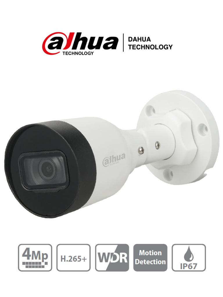 DAHUA DH-IPC-HFW1431S1-S4 - Cámara IP Bullet de 4 Megapixeles/ H.265+/ Lente de 2.8mm/ 93 Grados de Apertura/ IR de 30 Metros/ 30 FPS/ WDR/ IP67/