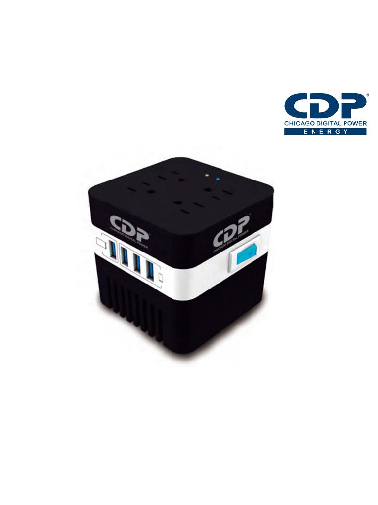 CDP RUAVR604- MINI REGULADOR DE VOLTAJE PARA EQUIPO ELECTRONICO/ 4 PUERTOS CARGA USB/ 4 CONTACTOS DE CORRIENTE/ 600VA