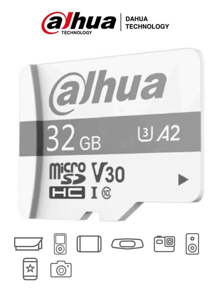 DAHUA TF-P100/32 GB - Dahua Memoria Micro SD de 32 GB UHS-I/ C10/U3/V30/A2/ Velocidad de Lectura 100 MB/s/ Velocidad de Escritura de 38 MB/s/ Especializada para Videovigilancia/ #LoNuevo