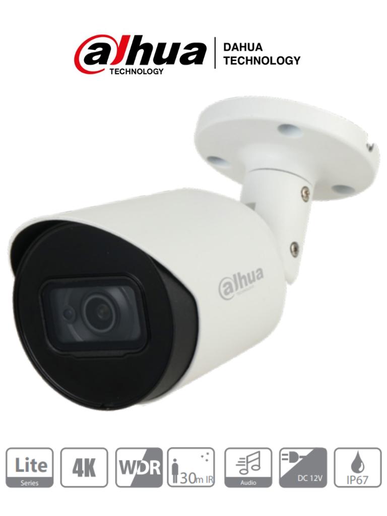 DAHUA HFW1801T-A - Camara Bullet 4K con Microfono Integrado/ 8 Megapixeles/ Lente de 2.8mm / WDR Real/ IR de 30 Mts/ Soporta: CVI/CVBS/AHD/TVI/ IP67/ Metalica