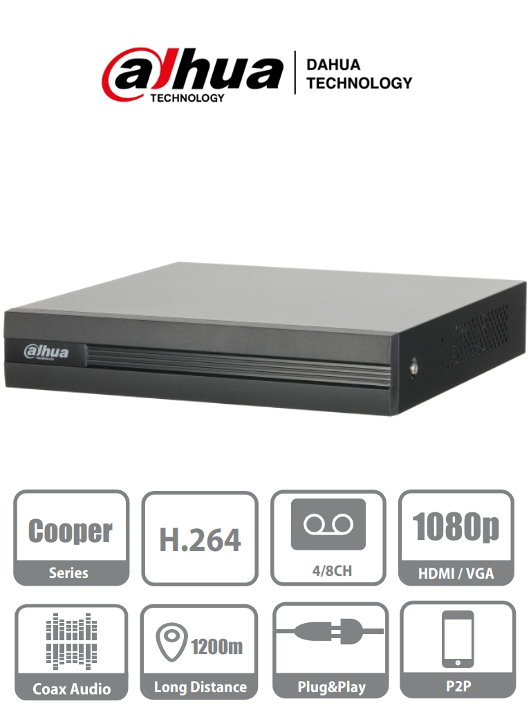 DAHUA COOPER XVR1A08 - DVR 8 Canales HDCVI Pentahibrido 1080p Lite/ 720p/ H264/ 2 Ch IP adicionales 8+2/ SATA Hasta 6TB/ P2P/