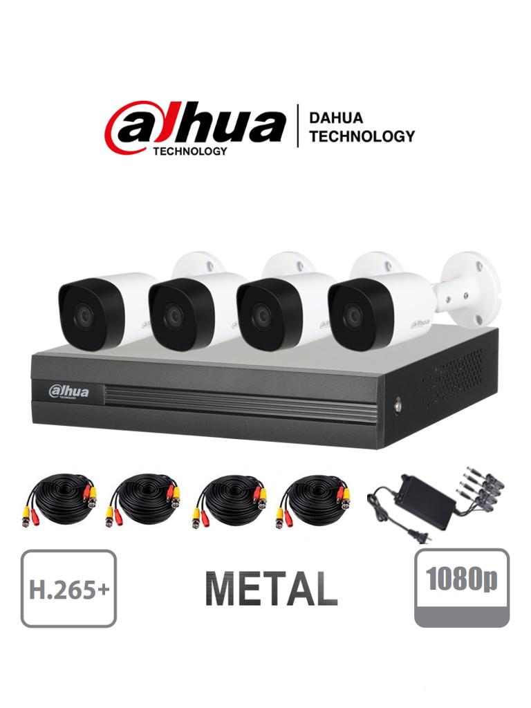 DAHUA COOPER XVR1B04KITII - Kit 4 canales 2 Megapixeles/ 4 Camaras B2A21 1080p Metalicas / DVR De 4 canales H265+ 1080p Lite/ 1 Ch IP Adicional/ IR 20M / Accesorios/ #KitsDahua