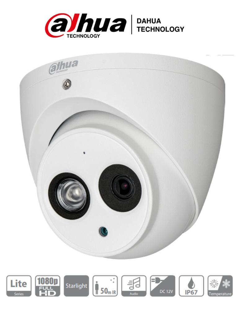 DAHUA HDW1230EM-A-28- Camara Domo Starlight 1080p/ 0.005 Lux color/ Microfono Integrado/ Soporta TVI/AHD/CVBS / Lente 2.8 mm/ 106 Grados de Apertura/ IR de 50Mts/ IP67/ Metalica/ DWDR