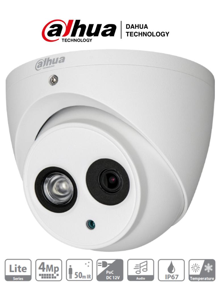 DAHUA HDW1400EM-A-036 - Camara Domo 4 Megapixeles/ Lente 3.6 MM/ Microfono Integrado/ IR 50 Mts/ IP67/ Metalica/