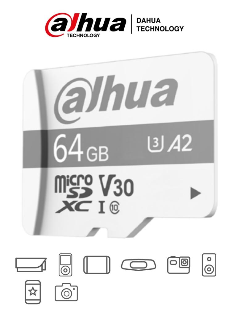 DAHUA TF-P100/64 GB - Dahua Memoria Micro SD de 64 GB UHS-I/ C10/U3/V30/A2/ Velocidad de Lectura 100 MB/s/ Velocidad de Escritura de 38 MB/s/ Especializada para Videovigilancia/ #LoNuevo