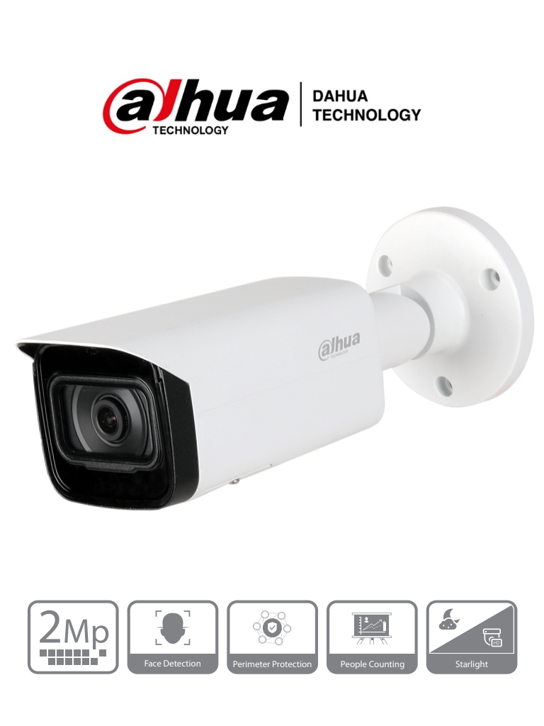 DAHUA IPC-HFW5241TN-S - Camara IP Bullet de 2 Megapixeles/ IA/ Lente de 3.6 mm/ H.265/ IR 80 Mts/ Detección de Rostros/ Protección Perimetral/ Ranura para MicroSD/ IP67/ IK10/ PoE #RETAIL #Proyectos