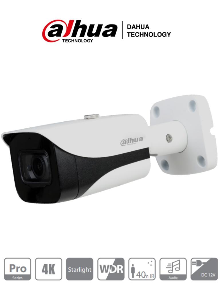 DAHUA HFW2802E-A-036 - Camara Bullet 4k Starlight/ 8 Megapixeles/ Lente de 3.6mm/ 0.005 Lux color/ WDR Real/ IR de 40M/ IP67/ 3DNR/ Microfono Integrado + 1 Entrada de Audio/ #SeriePro #Starlight