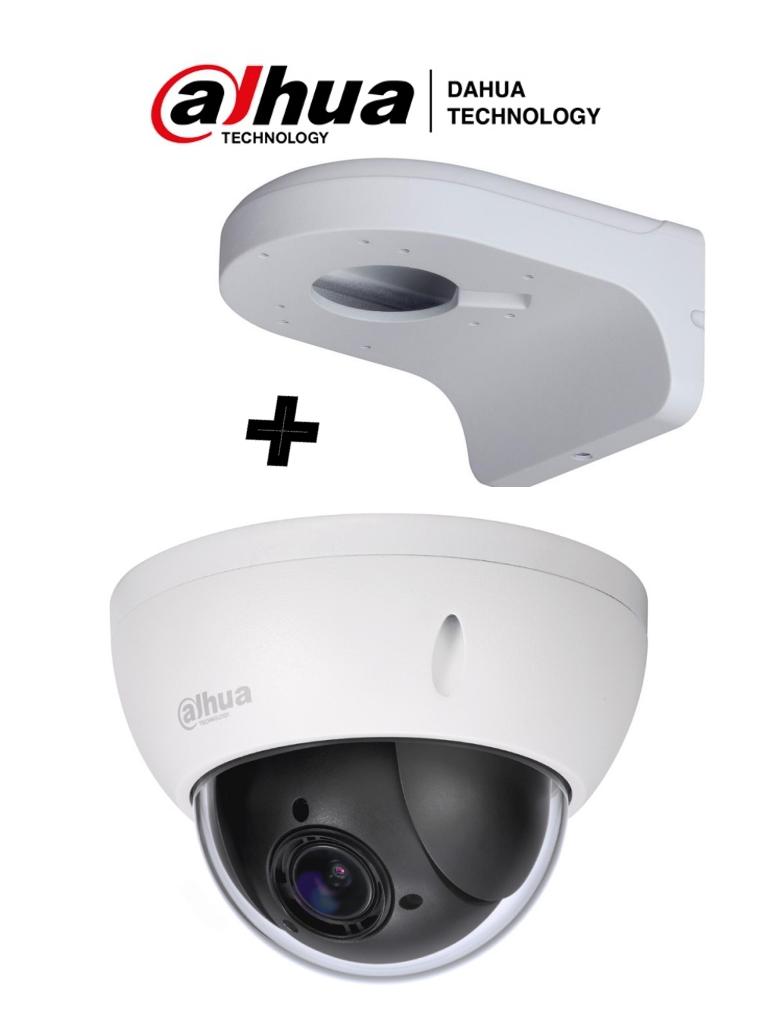 DAHUA SD22204IGCPAK - Camara mini PTZ de 2 MP  HDCVI / 4X Zoom óptico con brazo de pared PFB203W incluido