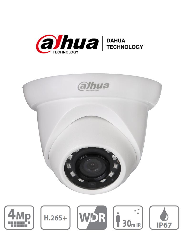 DAHUA IPC-HDW1431S -  Cámara IP Domo de 4 Megapixeles/ H.265/ WDR Real/ Lente de 2.8 mm/ IR de 30 Mts/ IP67/ Poe