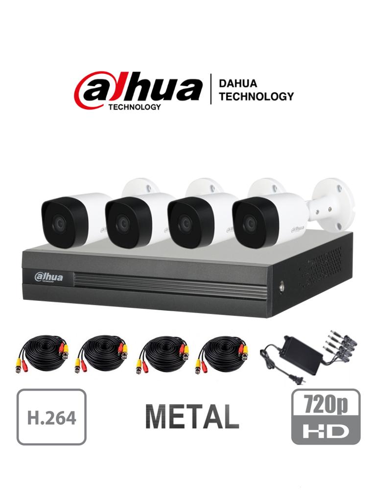 DAHUA COOPER XVR1A044B2A11 - Kit de 4 Canales 1 Megapixel/ 4 Camaras B2A11 720p Metalicas/ DVR de 4 Canales H.264 1080p Lite/ 1 Ch IP Adicional/ IR 20 mts/ IP67/ Accesorios/ #KitsDahua