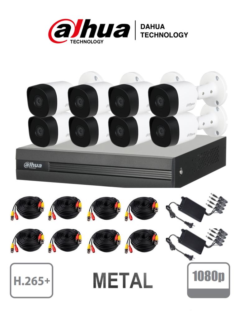 DAHUA COOPER XVR1B08KITII - Kit 8 canales 2 megapixeles / 8 Camaras B2A21  1080p metalicas / DVR De 8 canales  1080p  Lite / H.265+ / 2 Ch IP adicionales 8+2 / Ir 20M / IP67 / Accesorios / #KitsDahua