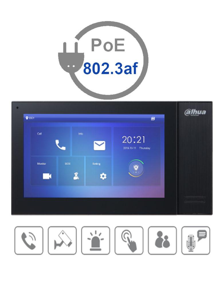 DAHUA VTH2421FBP- Monitor IP touch de 7 pulgadas / PoE STANDAR / Llamada en grupo / Ranura MicroSD / 6 Entradas de alarma/1 salida alarma / Hasta 20 frentes de calle #TocToc