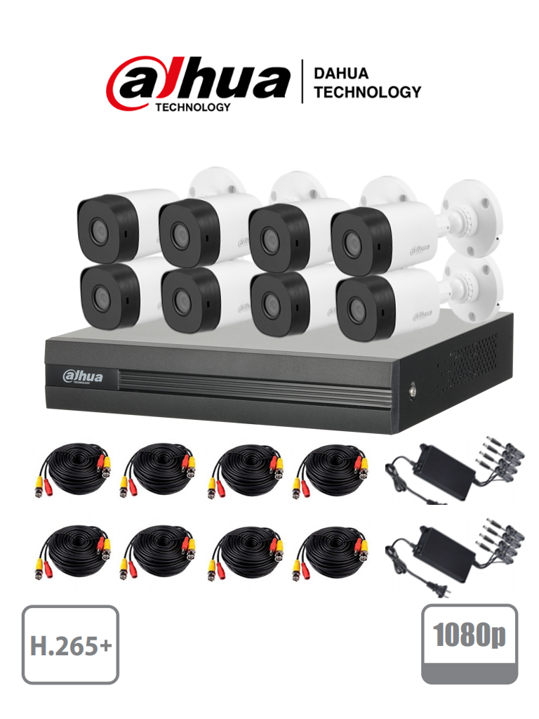 DAHUA COOPER XVR1B08KIT - Kit 8 canales 2 megapixeles/ 2 Ch IP adicionales/ 8 Camaras B1A21  1080p/ DVR De 8 canales H.265+1080p Lite 8+2/ Accesorios