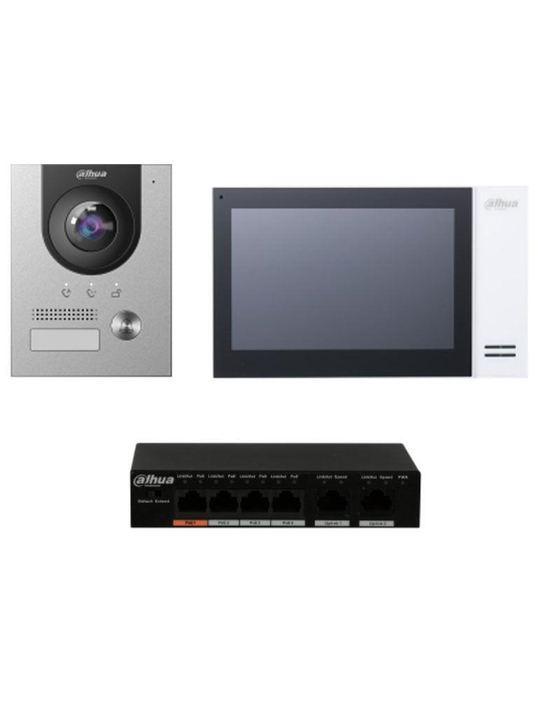 DAHUA KITKTP01S - Kit de Videoportero IP con Frente de Calle metálico, Monitor y Switch POE/  Pantalla LCD Touch de 7 / Camara 2MP Antivandalico/ Ranura SD 4GB/ IP65/ Soporta 8 Sensores de Alarma. #TocToc