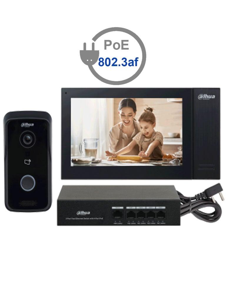 DAHUA KITKTP02 - Kit de Videoportero IP Frente de Calle, Monitor y Switch POE/  Pantalla LCD Touch de 7 / Camara 1MP / Ranura SD / IP65 #VDPDahua