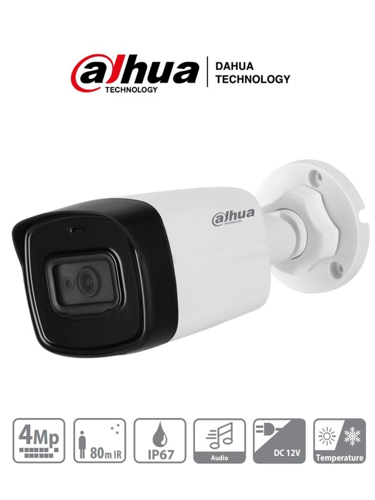 DAHUA HFW1400TL-A - Cámara Bullet 4 Megapixeles/ Lente de 2.8 mm/ Angulo de 97 Grados/ Microfono Integrado/ IR de 80 Mts/ IP67/ DWDR/
