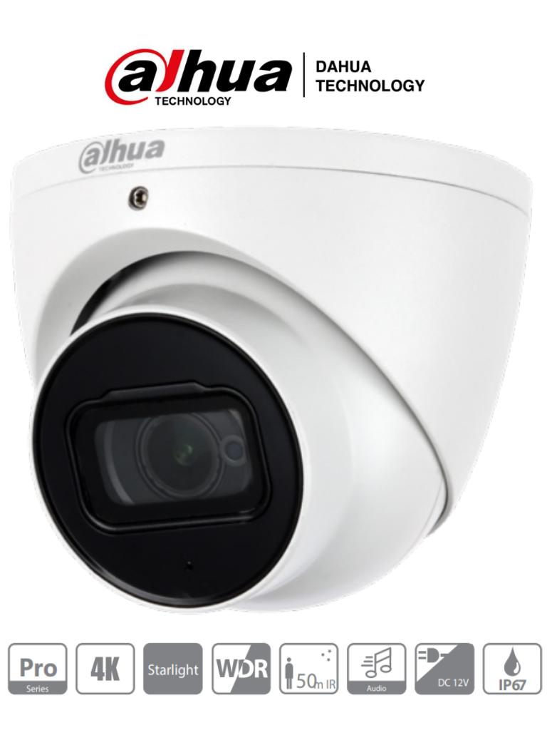 DAHUA HDW2802T-A - Camara Domo EyeBall 4K Starlight/ 8 Megapixeles/ Lente 2.8 mm/ IR de 50 Mts/ WDR Real 120 dB/ Microfono Integrado + 1 Canal de Audio/ IP67/ #SeriePro