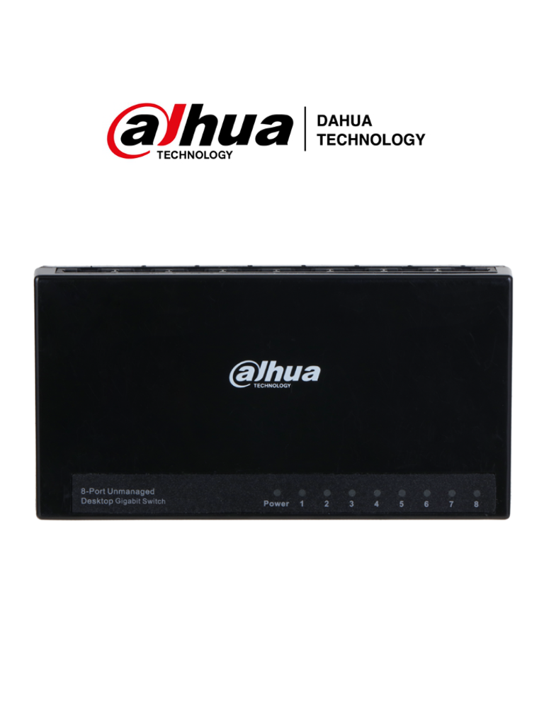 DAHUA DH-PFS3008-8GT-L - Switch para Escritorio 8 Puertos/ Gigabit Ethernet/ 10/100/1000/ Diseño Compacto/ Capa 2/ switching 16 Gbps/ Velocidad de Reenvio de paquetes11.9 Mbps/