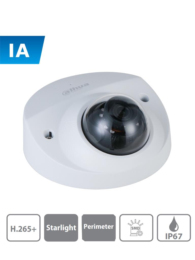 DAHUA IPC-HDBW3241F-AS-M - Camara IP Domo Antivandalico de 2 Megapixeles/ H.265+/ Microfono Integrado/ Lente de 2.8 mm/ IR 50 Mts/ SMD/ IP67/ IK10/ PoE #ProtecciónPerimetral #DIEZ