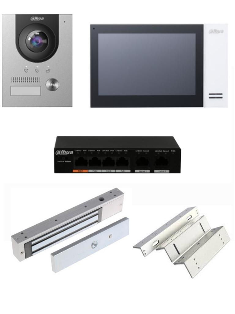 DAHUA KTP01S - Kit de Videoportero IP con Frente de Calle metálico, Monitor y Switch POE/ Pantalla LCD Touch de 7 / Cámara 2MP Anti vandálico/ Incluye cerradura magnética de 120 Kg y soporte de fijación en ZL #Videoportero