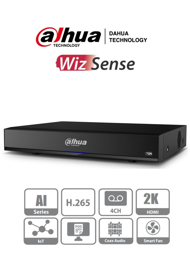 DAHUA XVR7104HE-4KL-I - DVR de 4 Canales 4k con Inteligencia Artificial/ H.265+/ 2 Canales de Reconocimiento Facial/ Protección Perimetral/ 8&3 E&S de Alarma/ 1 Bahia de Disco duro hasta 10 TB/ 4 Canales IP Adicionales 4+4/ 4 Entradas de Audio/ #MasPadre