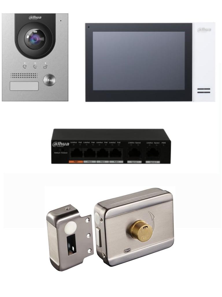 DAHUA KTP01S - Kit de Videoportero IP con Frente de Calle metálico, Monitor y Switch POE/ Pantalla LCD Touch de 7 / Cámara 2MP Antivandálico/ Incluye cerradura eléctrica ABK703BS #Videoportero