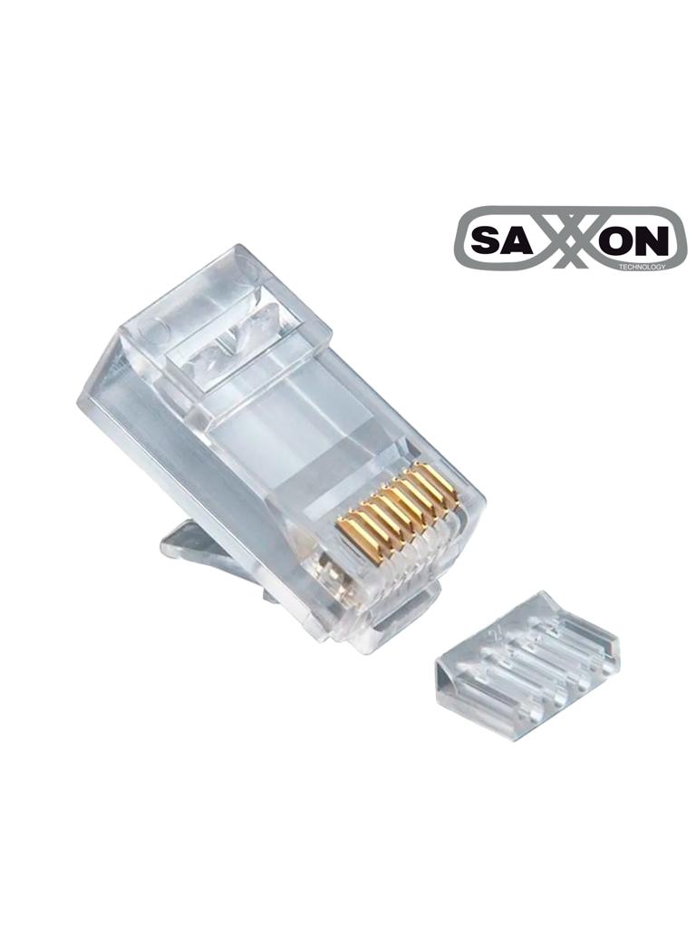 SAXXON S901D - Conector plug RJ45 para cable UTP / CAT 6 / Con Guía / Paquete 100 piezas
