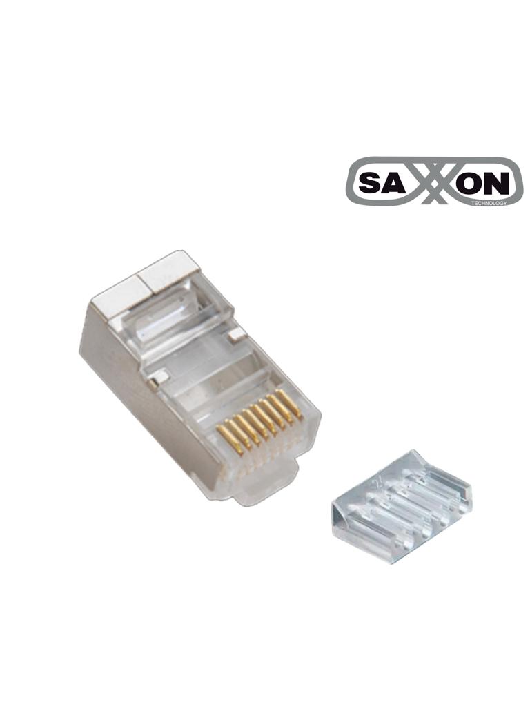 SAXXON S901E - Conector plug RJ45 para cable UTP con guía / CAT 6 / Blindado / Paquete 100 piezas