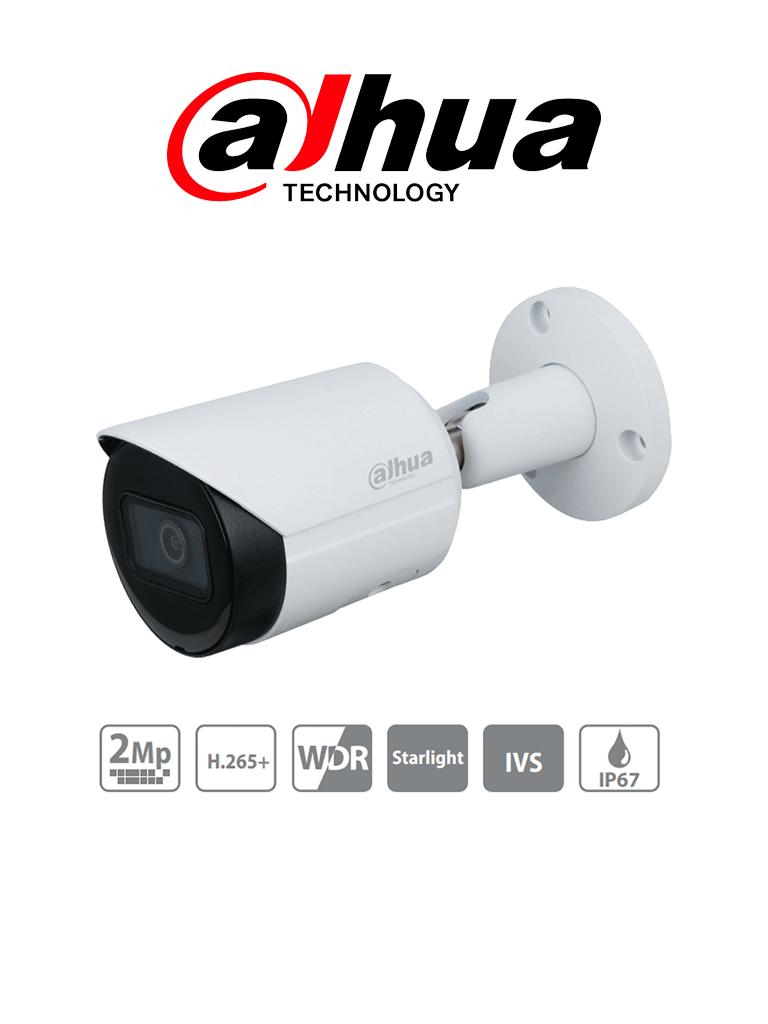 DAHUA IPC-HFW2231S-S-S2 - Camara IP Bullet de 2 Megapixeles/ Lente de 2.8mm/ 106 Grados de Apertura/ 30 Mts de IR/ Starlight/ WDR Real 120dB/ Ranura MicroSD/ IP67/PoE/ Videoanaliticos con IVS/ Metálica/ #VivaMX