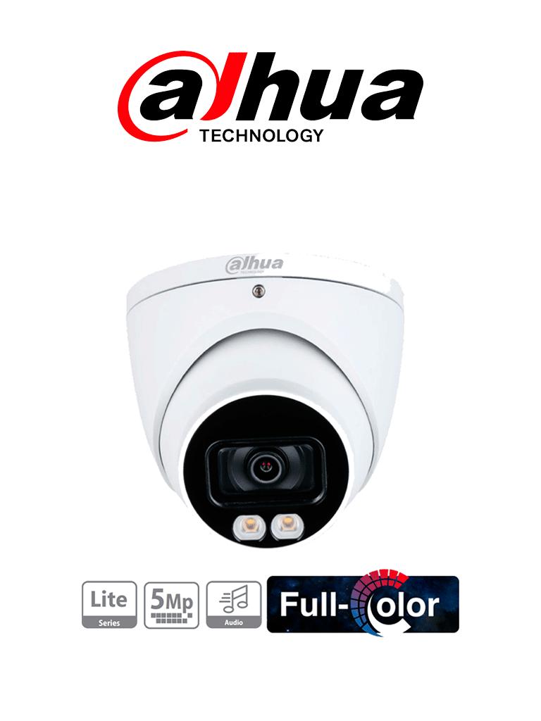 DAHUA  HDW1509T-A-LED - Cámara Domo Full Color de 5 Megapixeles/ Lente de 3.6 mm/ Micrófono Integrado/ Leds para 40 Metros/ Starlight/ IP67/ #FullColor