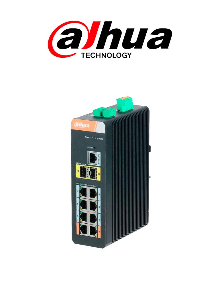 DAHUA PFS42108GTDP - Switch PoE Gigabit Grado industrial/ Administrable Capa 2/ 8 Puertos PoE Gigabit/ 2 Puertos GE/ 802.3AF&AT/ 120W Totales/ SWITCHING 28 GBPS