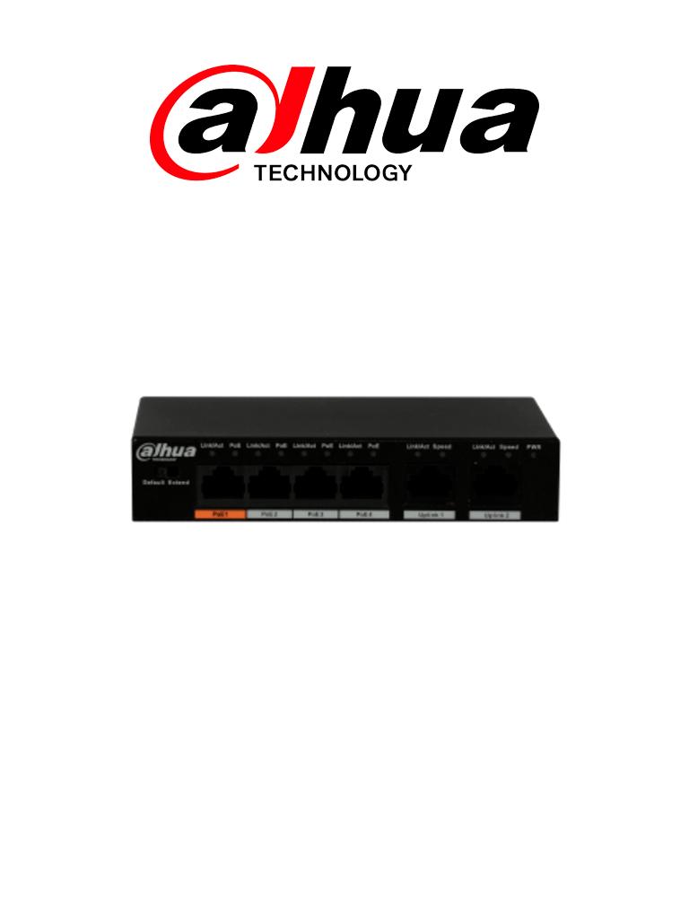 DAHUA PFS3006-4ET-60 - Switch  PoE 4 Puertos/ 2 Puertos UpLink Ethernet/ Switching 1.8G/ 60  Watts/ Soporta IEEE 802.3af/ IEEE 802.3at/ HI-PoE