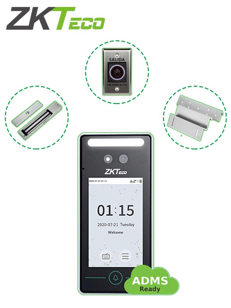 ZKTECO FaceV4L1DPack - Control de Acceso Facial y Tarjeta / una Puerta de Madera o Metal / 200 kg / Reconocimiento Facial a 2m / Registro Facial con Selfie / Gratis Software de Administración con Bio Access MTD (ZKT0740006)