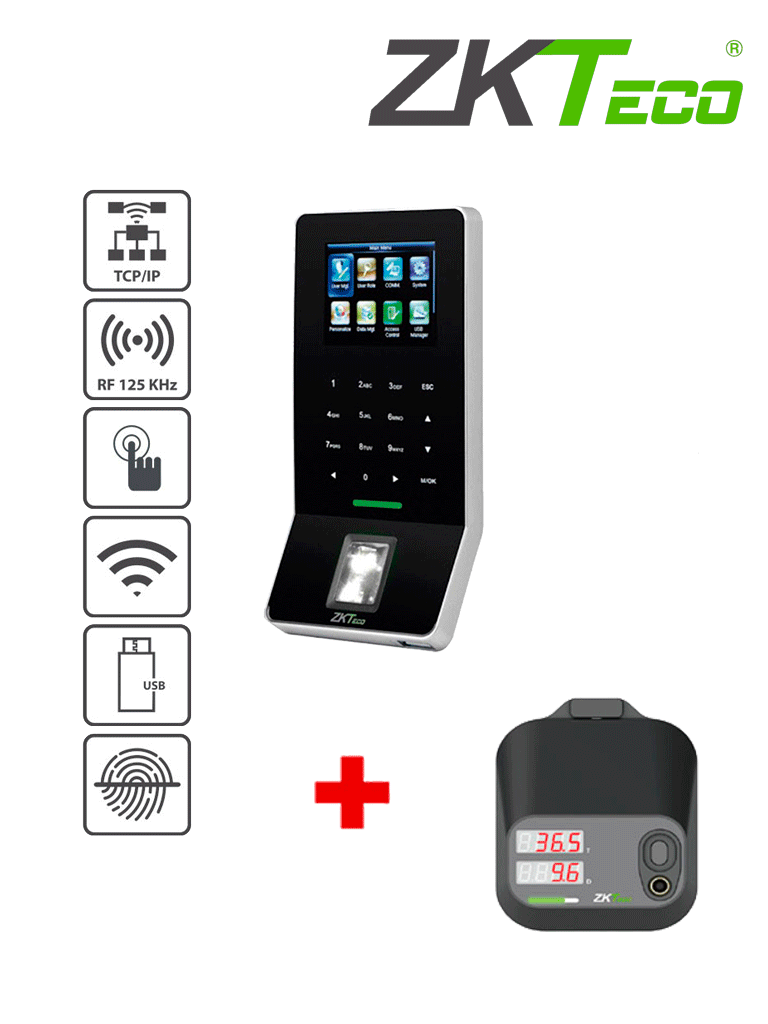 ZKTECO F22TDM95PACK - Control de Acceso y Asistencia / 3000 Huellas / 5000 Tarjetas ID / Teclado Táctil / SILK ID / TCPIP / WiFi / USB / Con terminal de detección de temperarura TDM95