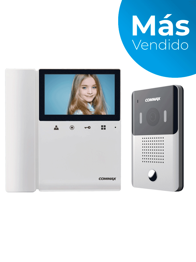 COMMAX CDV43K2DRC4Y - Kit de videoportero incluye monitor a color 4.3 pulgadas y frente de calle con cámara pinhole /Audio y video/ Función de apertura de puerta/ No necesita configuración compatible con cubierta clave cmx2260001/ #MásVendido
