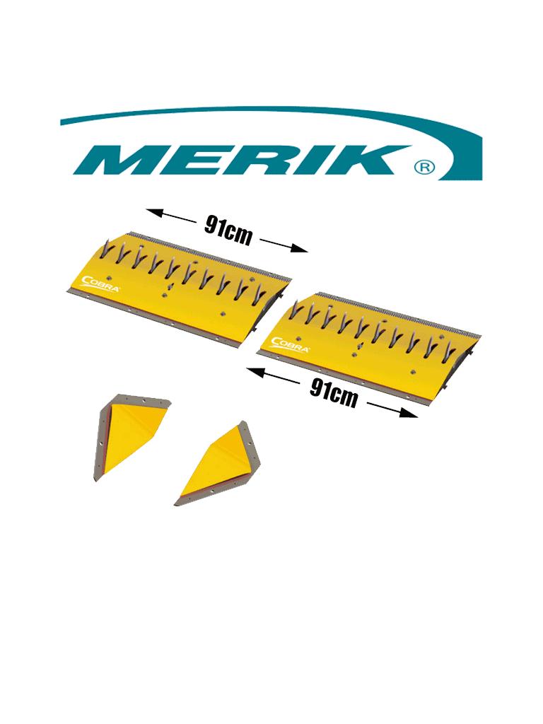 MERIK 12300PY6P - Paquete de picos poncha llantas LIFTMASTER / Montaje superficial / 2 Tramos de 91cm cada uno / Color amarillo / Incluye par de biseles laterales