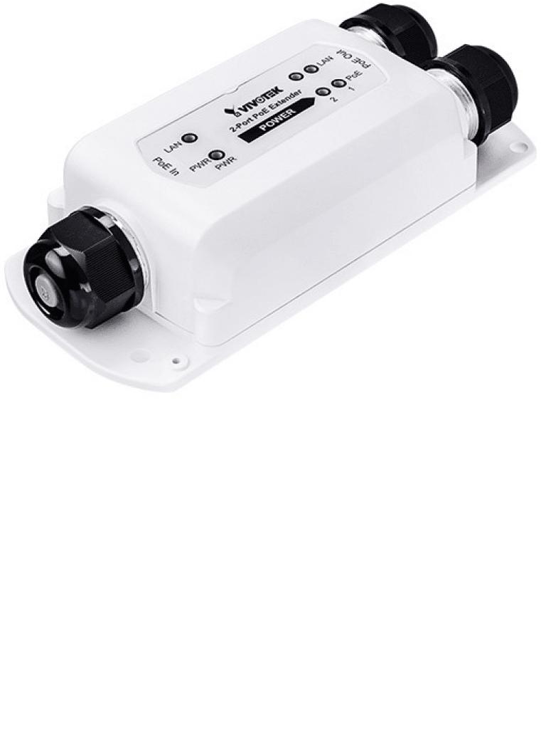 VIVOTEK APFXC0260 - Extensor  PoE para exterior / 2 Puertos fe / Conexion en cascada hasta 300 Mts / Salida  PoE hasta 70W / IP67 / IK10