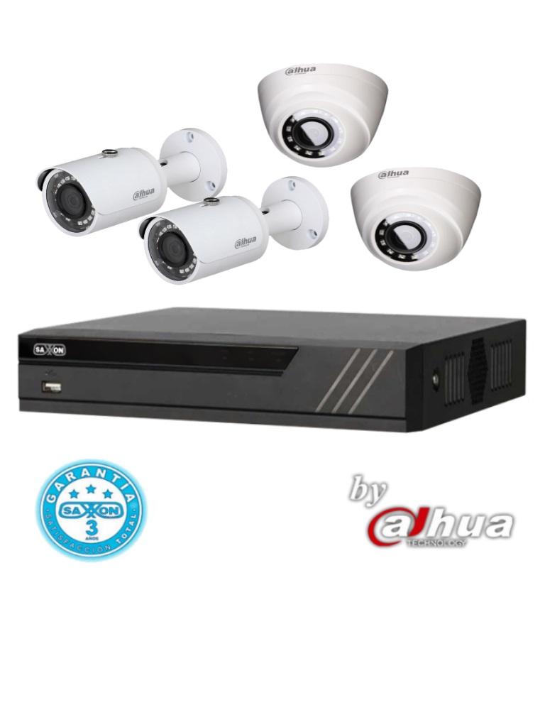 DAHUA SAX4104XHXPAQ- DVR 4 CANALES HDCVI PENTAHIBRIDO 1080P LITE/  H265/ 2 CAMARAS BULLET METALICAS 720P HFAW1100S36S3 / 2 CAMARAS DOMO HDAW1000R28S3