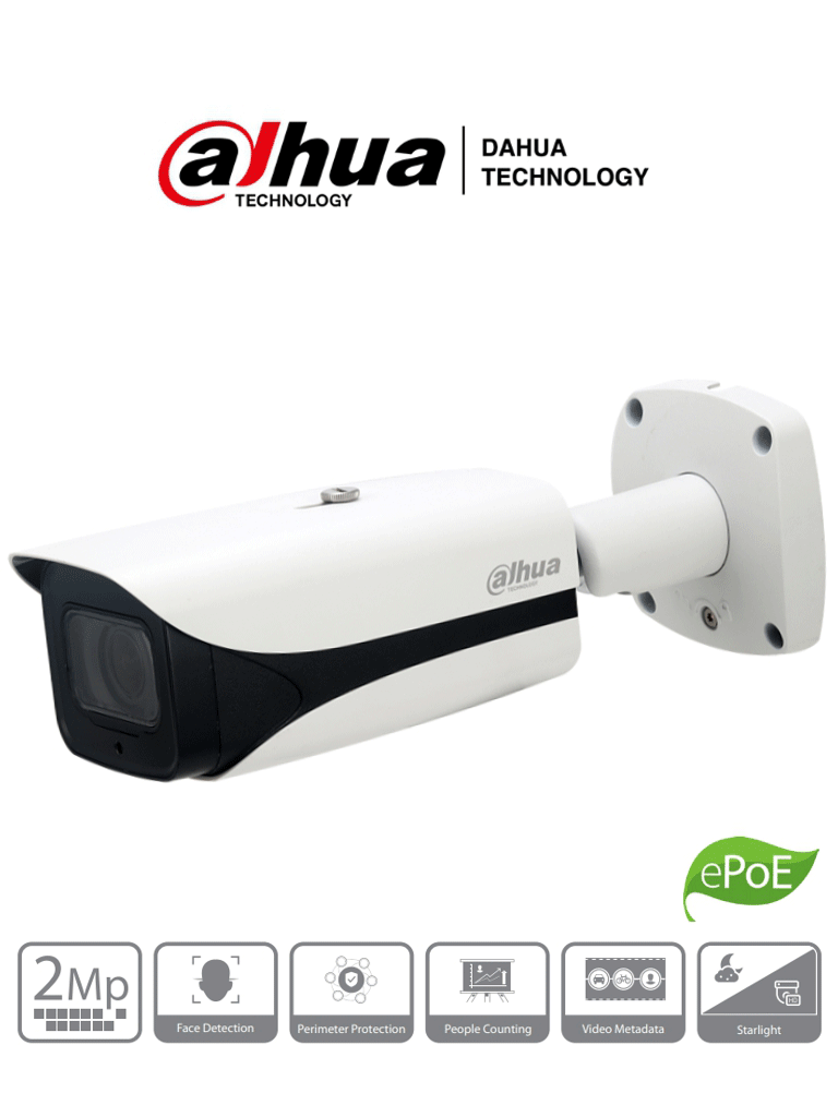 DAHUA IPC-HFW5241E-ZE- Cámara IP Bullet 2 Megapixeles/ Inteligencia Artificial/ H265/ WDR Real 120dB/ Lente Mot. de 2.7 mm a 13.5 mm/ IR de 50 Mts/Detección de Rostros/ Protección Perimetral/ E&S de Alarmas y Audio/ IP67/ IK10/ PoE/