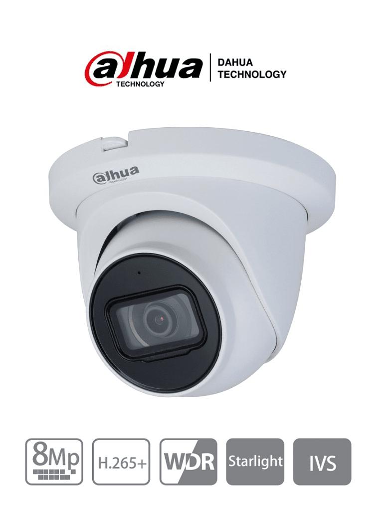 DAHUA IPC-HDW2831TM-AS-S2 - Cámara IP Domo 8 de Megapixeles/ Lente de 2.8mm/ 105 Grados de Apertura/ IR para 30 MTS/ H.265/ Microfono Integrado/WDR Real/ IP67/ PoE/ IVS/ Ranura para MicroSD