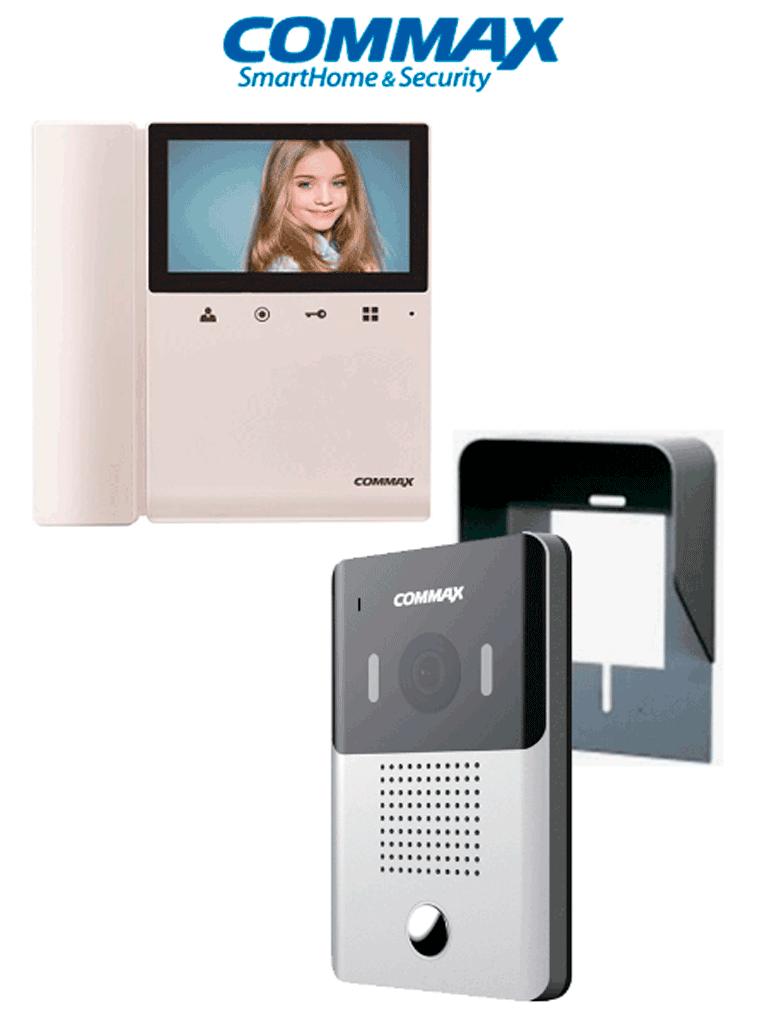 COMMAX DRC4YPACK - Paquete de videoportero frente de calle DRC4Y con cubierta de proteccion y monitor de 4.3 pulgadas a color con funcion de apertura de puerta, no necesita configuracion