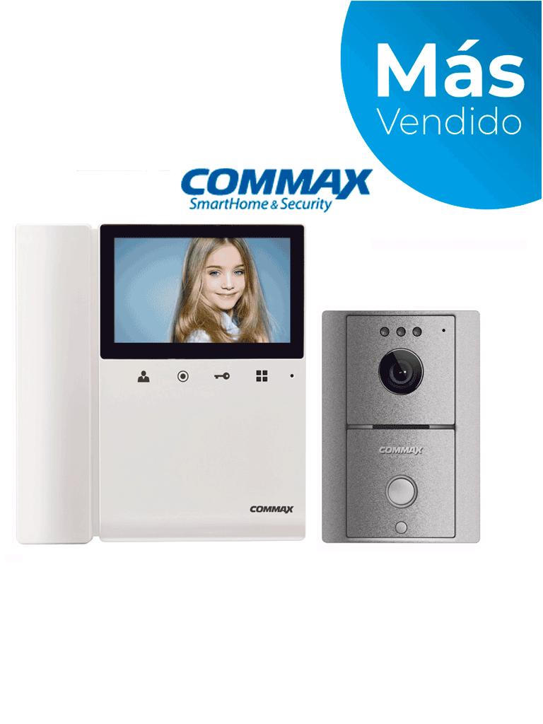 COMMAX CDV43K2DRC4LG - Kit de videoportero Commax a color con monitor de 4.3 pulgadas y auricular, frente de calle, comunicación con audio y video, función de apertura de puerta no requiere configuración/ #MásVendido