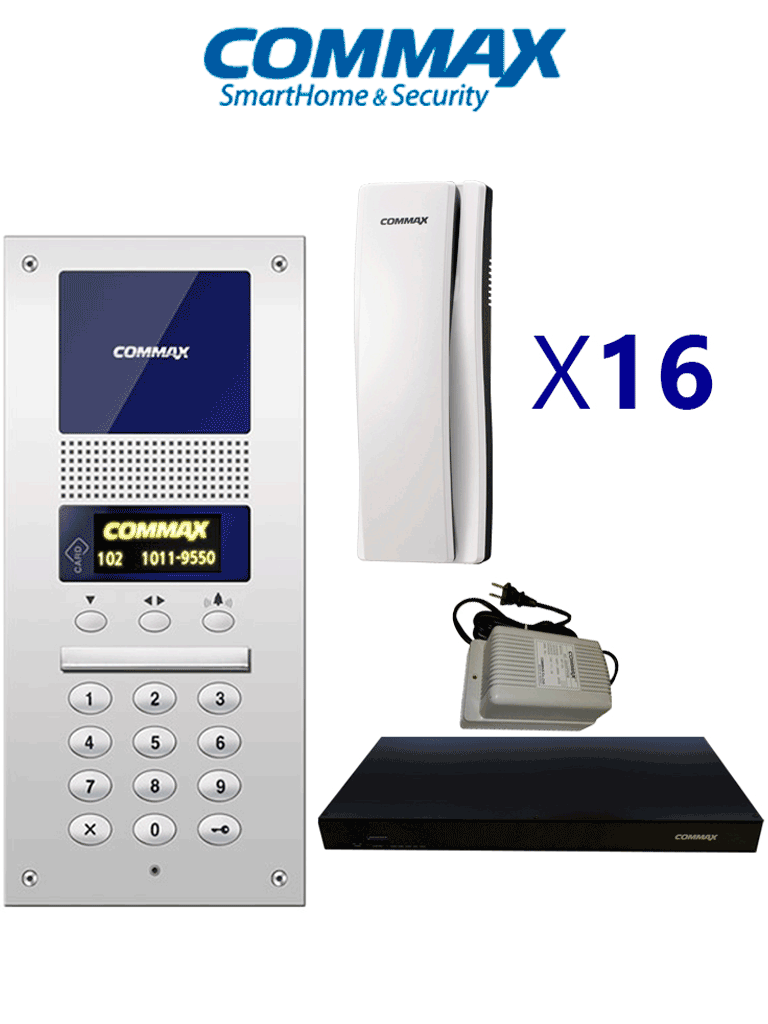 COMMAX AUDIOGATE16PAK - Paquete de Audioportero departamental sistema Audiogate con apertura de puerta, incluye frente de calle DR2AG, 16 auriculares, distribuidor de 16 posiciones y fuente de 24VDC/ Soporta Estación de guardia