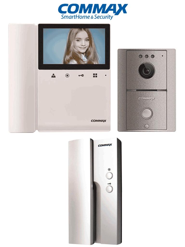 COMMAX CDV43K2DRC4LGPAQ - Paquete con monitor de 4.3 pulgadas y frente de calle con apertura de puerta, el monitor y el auricular se intercomunican