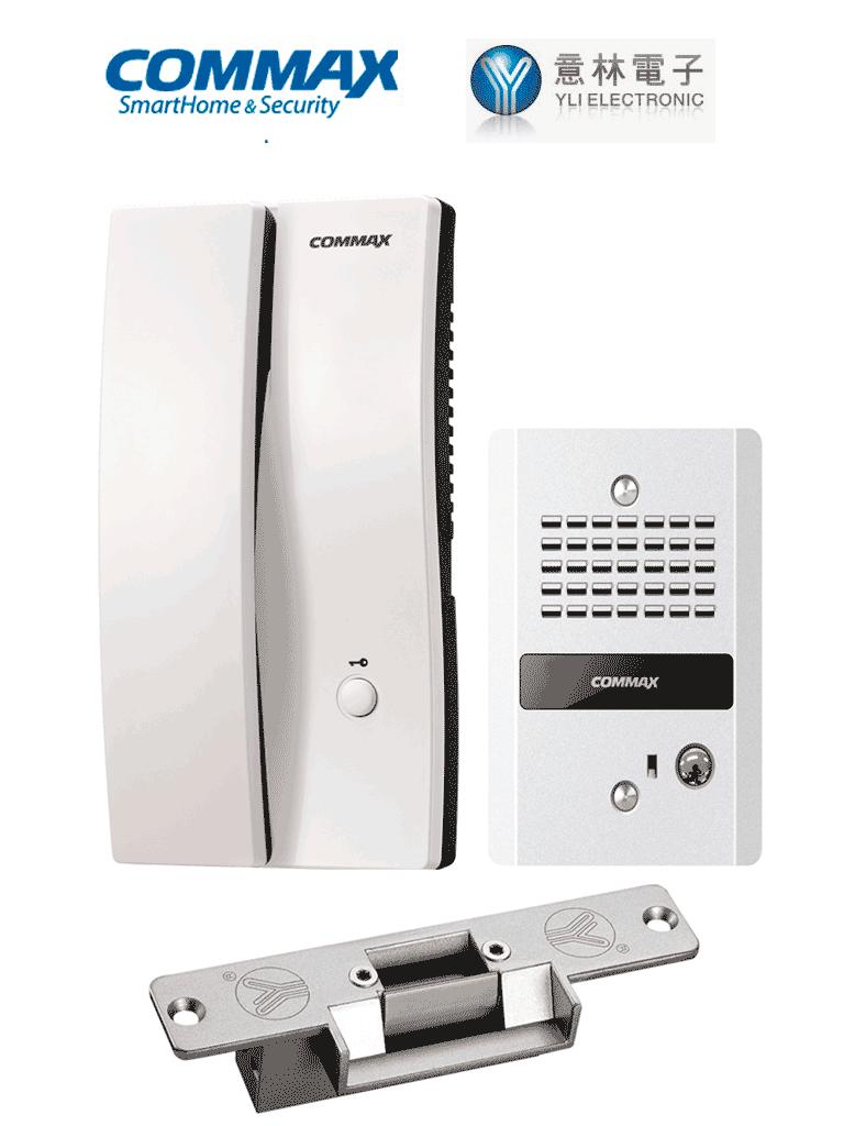 COMMAX PAQDP2SGYS - Paquete de interfon para audioportero / Frente de calle DP2G / Contrachapa electrica