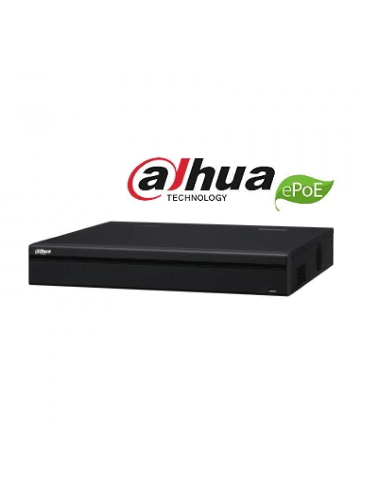 DAHUA NVR5416P4KS2E - NVR 16 Canales 4K/ H265+/ Rendimiento 320 Mbps/ 8 Puertos con Tecnologia ePoE hasta 800M/ 16 PoE/ 2 HDMI/ POS/ 4 Puertos SATA/ Dewarping